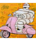 Bonhomme Michelin on a pink scooter