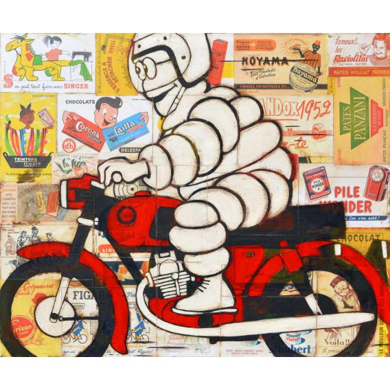 Michelin Man on a red BMW motorcycle on background of old advertisements