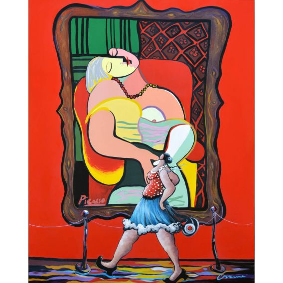 Julie walks in front of the dream (Picasso)