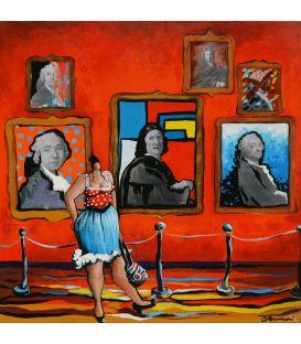 Julie pose dans la galerie des portraits
