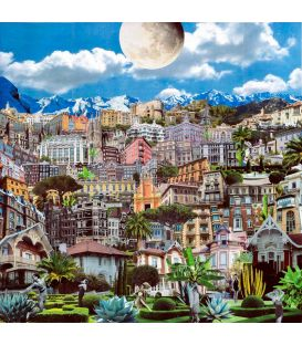 City Garden, Moon Garden - Painting by David Ameil