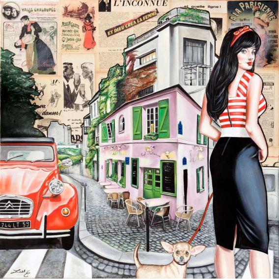 La pinup, le chihuahua et la 2cv dans un quartier de Paris - Tableau