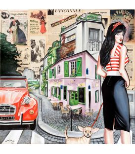 The pinup, the chihuahua and the 2cv in a district of Paris - Painting