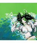 La rêveuse dans la piscine - Tableau de Corinne Brenner