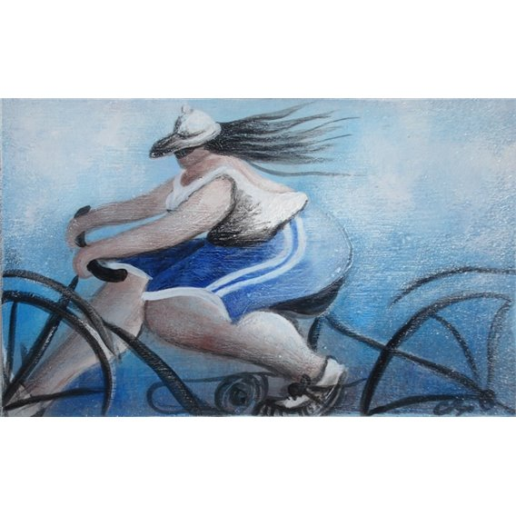 Cécile is biking