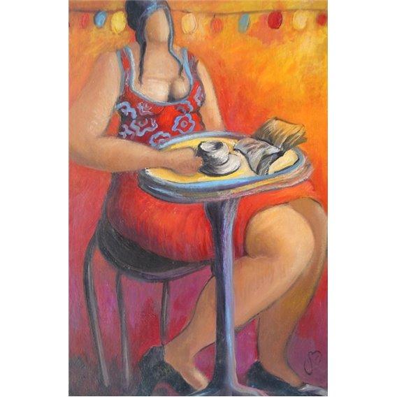 La femme au café qui lit son livre sous la guirlande électrique
