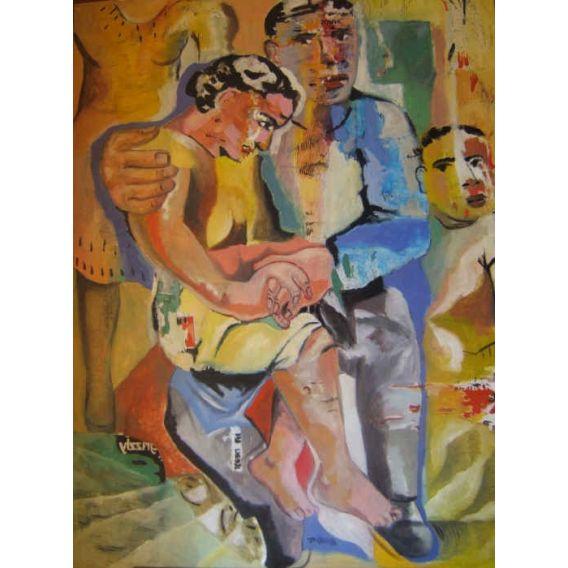 La femme assise sur ses genoux