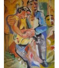 Woman sitting on his lap