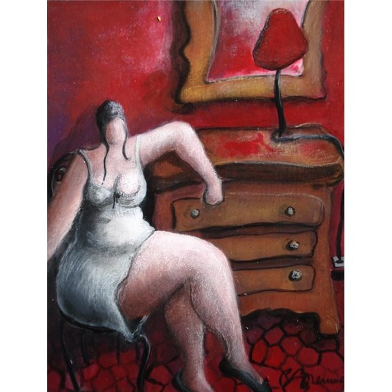 The woman, the furniture in the red room