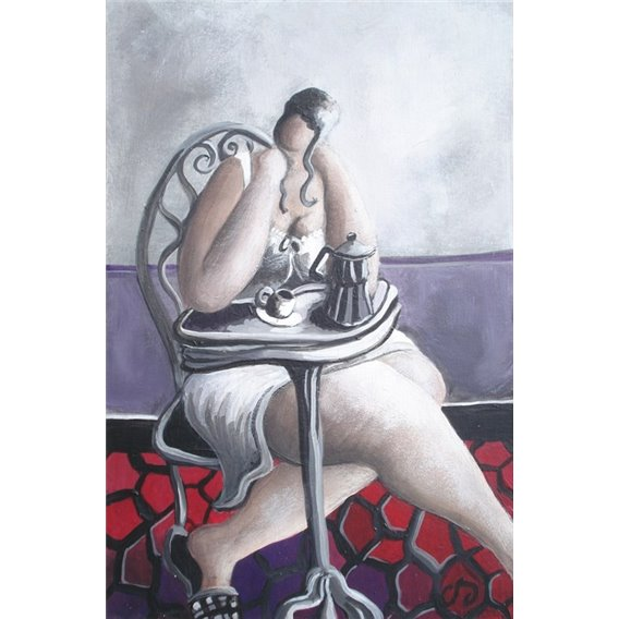 The girl with the coffee maker