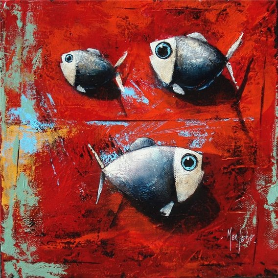 Three fish on red background
