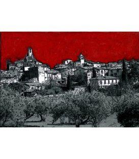 Ciel rouge sur Lourmarin