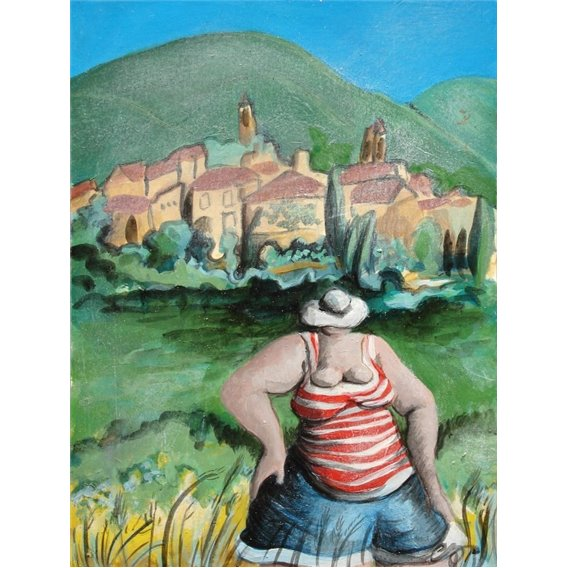 The girl on holiday in a pretty village of Luberon