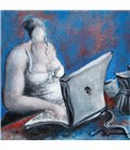 The girl with the computer on blue background