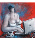 The girl with the computer on red background