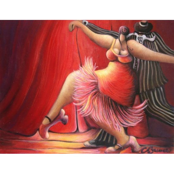 Tango dancers in front of the red curtain n°2