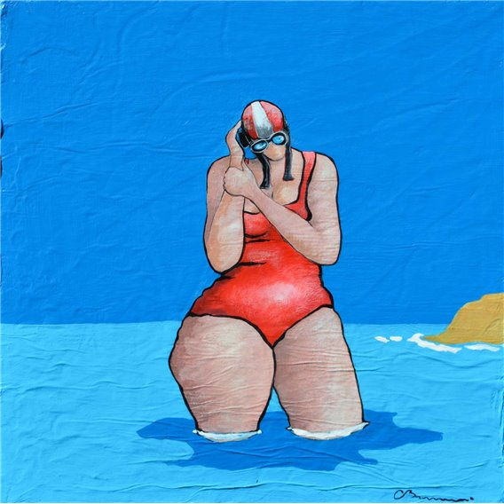 Swimmer with her mobile