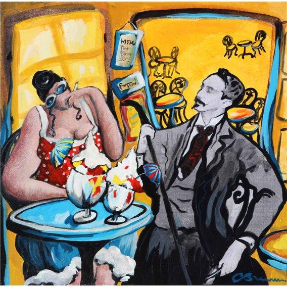 Julie au bar fume une clope avec Edouard