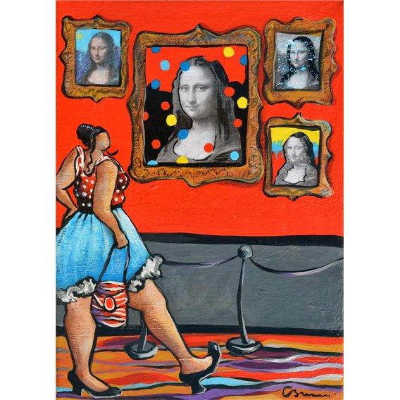 Julie au musée d'art moderne est captivée par la modernité de cette Joconde