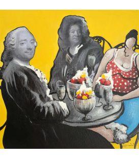 Julie trinque au champagne au bar jaune avec Edouard et Jean-Jérome