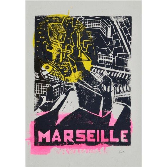 Marseille - allégorie en jaune et rose