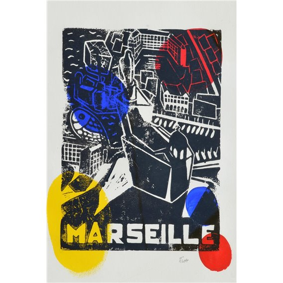 Marseille - Allegory in yellow, red and blue