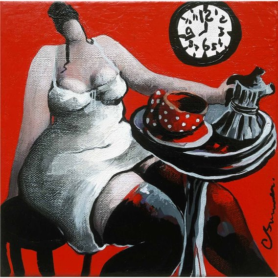 Le café de 8H00 dans la cuisine rouge