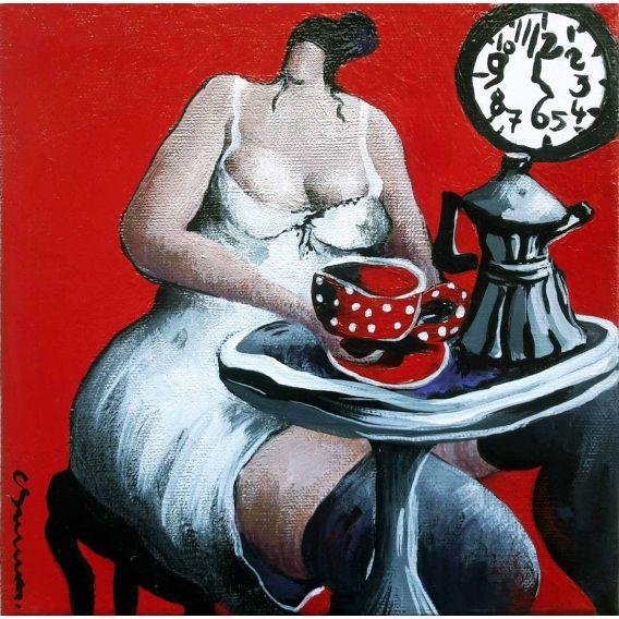 Le café de 5H00 dans la cuisine rouge