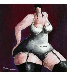 The girl who puts her hand on her buttock - Painting by Corinne Brenner