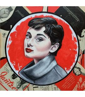 Audrey - Collage sur carton d'Elisabete Cargnello