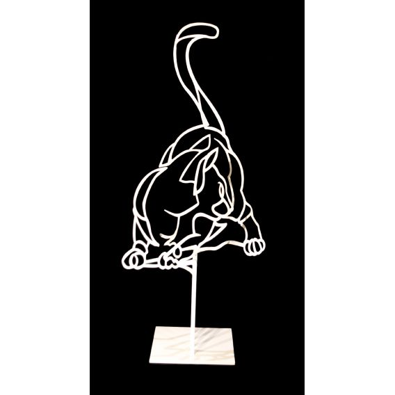 The cat n°1/8 - Sculpture by Pascal buclon