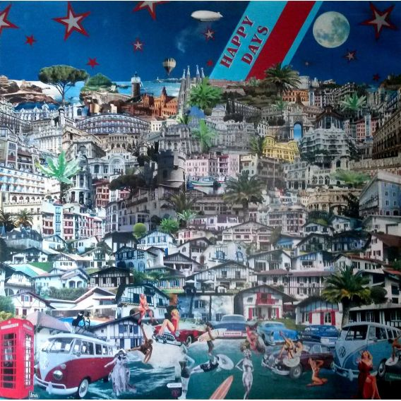 Happy days - Collages on canvas by David Ameil
