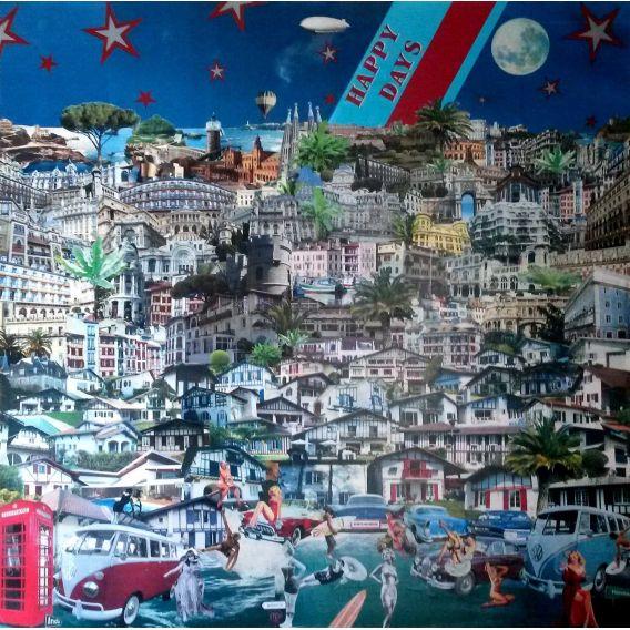 Jours heureux - Collages sur toile de David Ameil