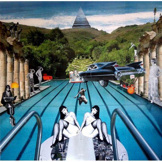 Le grand plongeon - Collages sur toile de David Ameil