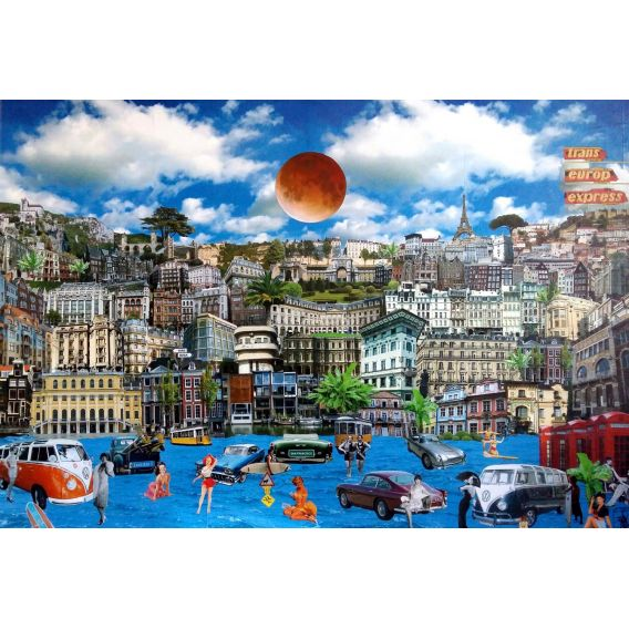 Trans-Europ-Express - Collages on canvas by David Ameil