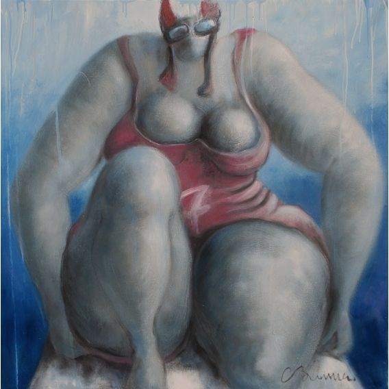 Swimmer n°7 - Red - Painting by C. Brenner