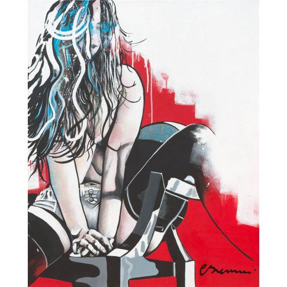 La fille sur la chaise en plexiglass - Tableau de Corinne Brenner