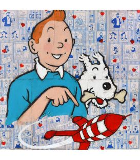 Tintin, Milou and the rocket