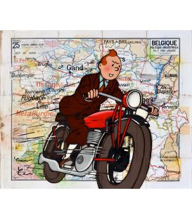 Belgium Tower - Tintin on motorbike