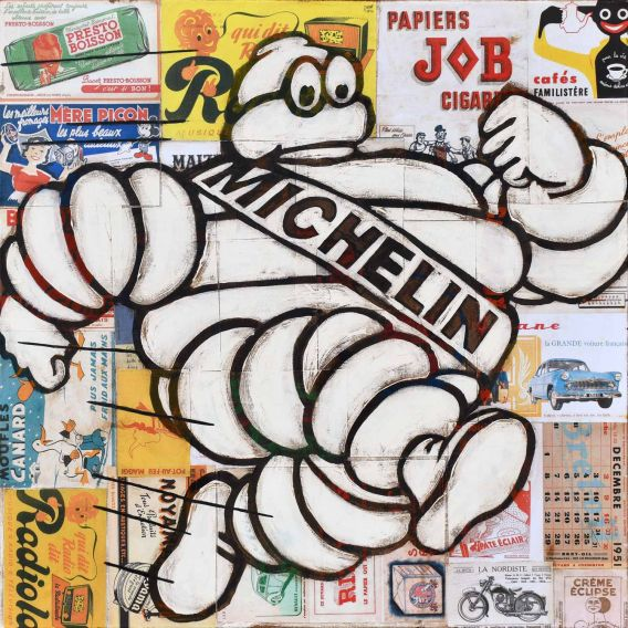 Mister Bib - Bibendum Michelin running on old advertising background - Painting by Yann Kempen