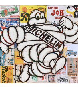 Mister Bib - Bibendum Michelin qui court sur fond de vieilles publicités - Tableau de Yann Kempen