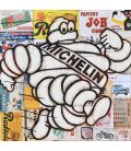 Mister Bib - Bibendum Michelin running on old advertising background