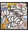 Mister Bib - Bibendum Michelin running on old advertising background - Framed