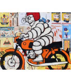Bibendum Michelin avec un casque rouge et sur une moto orange - Tableau de Yann Kempen