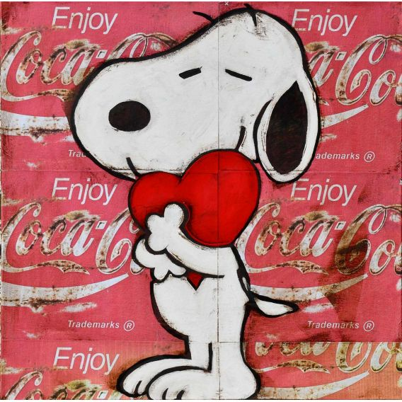 The heart of Snoopy - Painting by Kromo