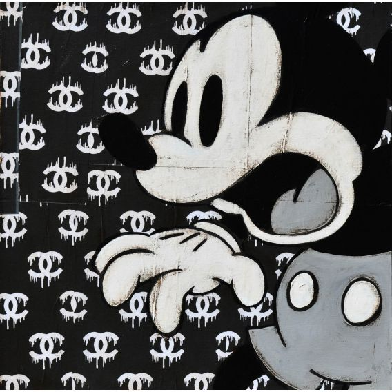 Mickey on advertising background for Chanel - Painting by Kromo