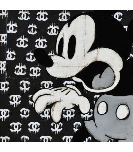 Mickey on advertising background for Chanel