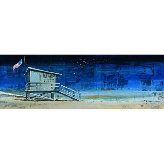 Malibu - Lifeguard off duty - Painting by Bertrand Lefebvre
