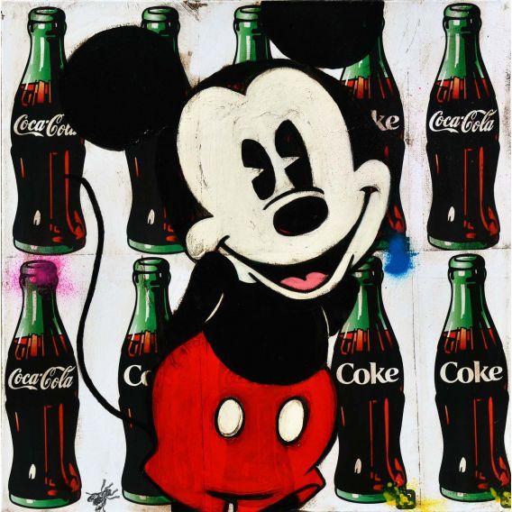 Mickey sur fond de publicité pour Coca-Cola - Tableau de Kromo