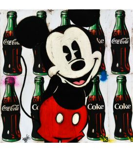 Mickey on advertising background for Coca-Cola